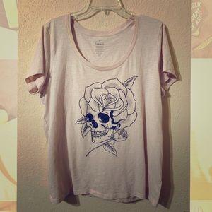 Torrid Skull Roses Millennial Light Pink Shirt